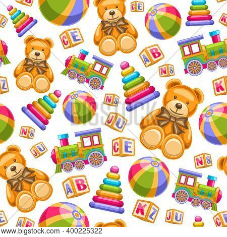 Vector Toys Seamless Pattern, Square Repeating Toy Background, Group Of Cut Out Illustrations. Flat