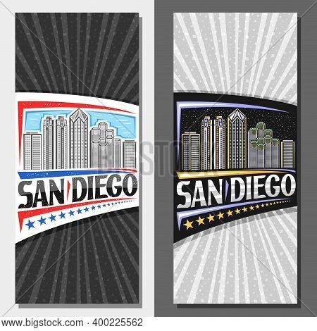 Vector Vertical Layouts For San Diego, Decorative Leaflet With Outline Illustration Of Modern City S