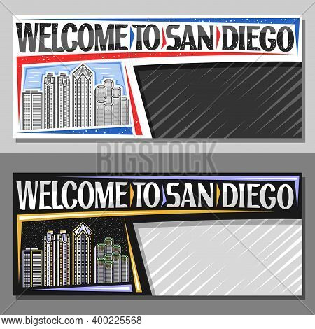 Vector Layouts For San Diego With Copy Space, Decorative Voucher With Outline Illustration Of Urban