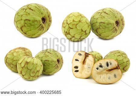 fresh cherimoya fruit (Annona cherimola) and a cut one on a white background
