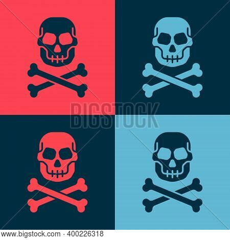 Pop Art Skull On Crossbones Icon Isolated On Color Background. Happy Halloween Party. Vector
