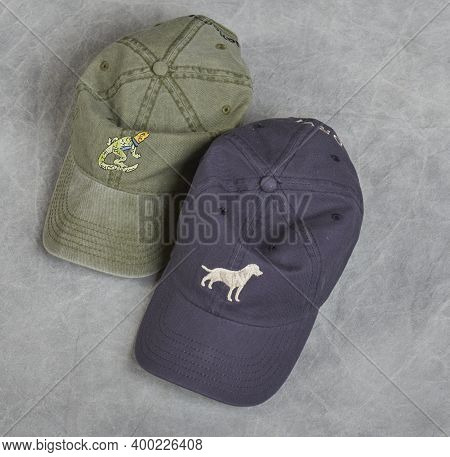 Baseball Caps Showing Bills Of Caps Two Caps Side By Side