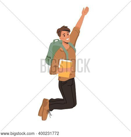 Dark Haired Man Student Merrily Leaps Or Jumps With Fists Up, Passed Exams Successfully. Man In Swea