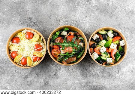 Healthy Food Delivery, Food Takeout. Fresh Vegetable Salads In Zero Waste Containers On Grey Backgro