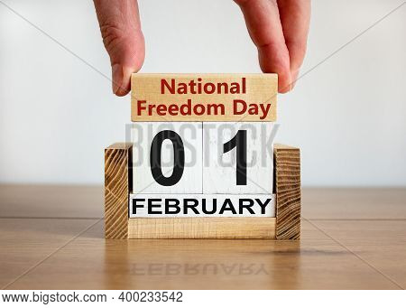 National Freedom Day Symbol. Wooden Block With Words 'national Freedom Day' On Calendar With The Dat