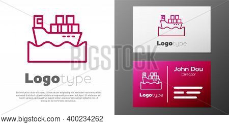 Logotype Line Cargo Ship With Boxes Delivery Service Icon Isolated On White Background. Delivery, Tr