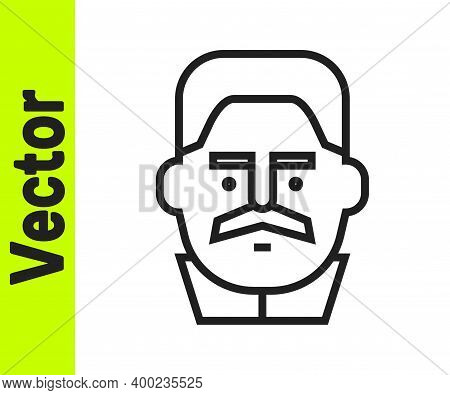 Black Line Portrait Of Joseph Stalin Icon Isolated On White Background. Vector