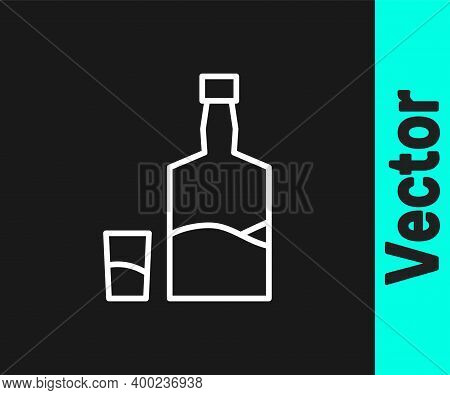 White Line Tequila Bottle And Shot Glass Icon Isolated On Black Background. Mexican Alcohol Drink. V