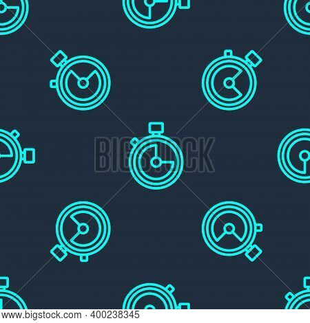 Green Line Stopwatch Icon Isolated Seamless Pattern On Blue Background. Time Timer Sign. Chronometer