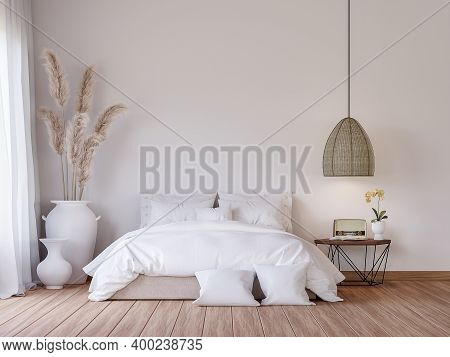Mininal Contemporary Style Bedroom 3d Render,there Are Wooden Floor Decorate With White Fabric Bed S