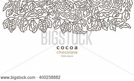 Cacao Plantation. Art Line Border. Vector Abstract Tree, Simply Leaf, Bean, Flower. Hand Drawn Graph