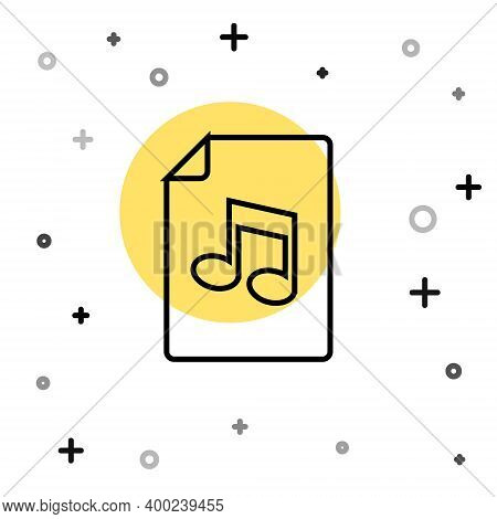 Black Line Music Book With Note Icon Isolated On White Background. Music Sheet With Note Stave. Note
