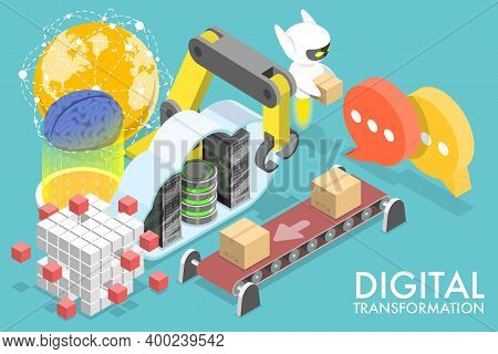 3d Isometric Flat Vector Conceptual Illustration Of Digital Transformation.