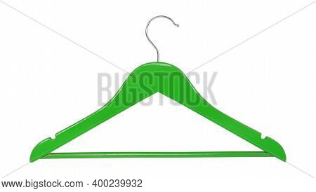Clothes, Shoes And Accessories - Green Wooden Clothes Hangers Isolated On A White Background.