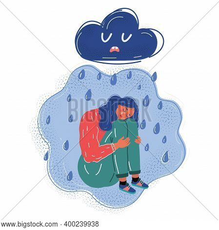 Vector Illustration Of Sad And Upset Woman, Standing Alone In Desperated Emotion With Cloud And Rain