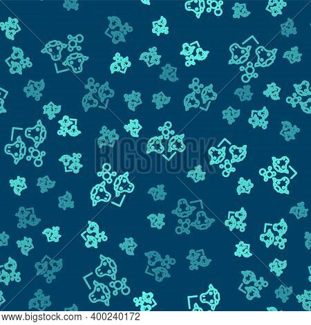 Green Line Cloning Icon Isolated Seamless Pattern On Blue Background. Genetic Engineering Concept. V