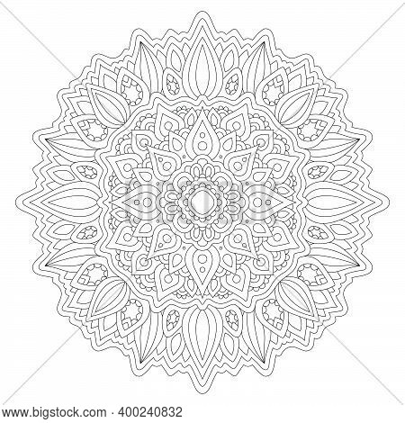 Beautiful Monochrome Linear Illustration For Coloring Book Page With Abstract Round Eastern Pattern