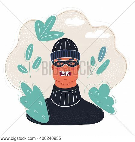 Vector Illustration Of Male Burglars Face In Mask And Beany Hat.