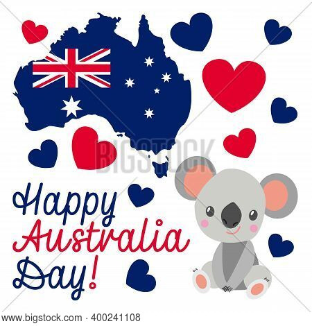 Baby Koala Sitting And Smiling. Flat Cartoon Style. Funny And Cute. Australian National Flag. Shape
