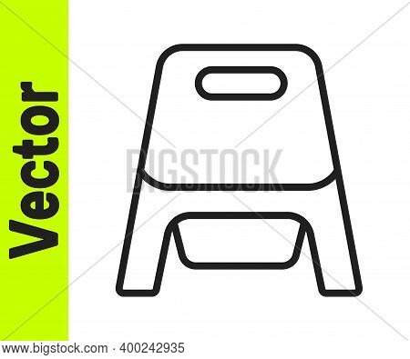 Black Line Baby Potty Icon Isolated On White Background. Chamber Pot. Vector