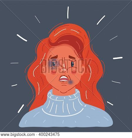 Vector Illustration Of Crying Woman With Tears And Bruises And Abrasions On A Womans Face. The Probl