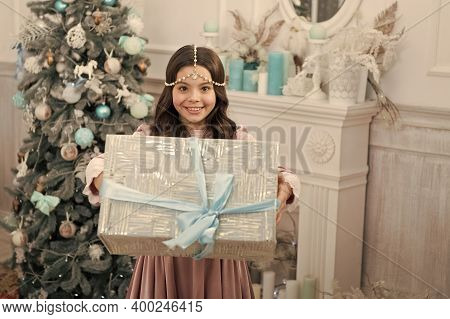 All You Need For Xmas. Happy Girl Give Xmas Gift. Small Child Celebrate Xmas And New Year. Boxing Da