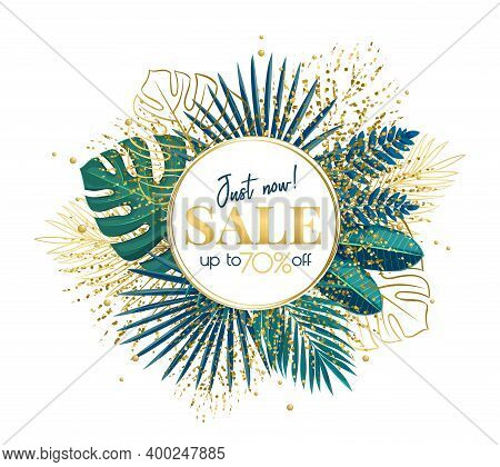 Green Tropical Leaves Frame Copy Space. Jungle Exotic Leaf Cut Round Sale Poster With Areca Palm Lea