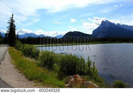 Majestic Mount Rundle And Vermillion Lake In The Canadian Rockies Near Banff In Alberta, Canada