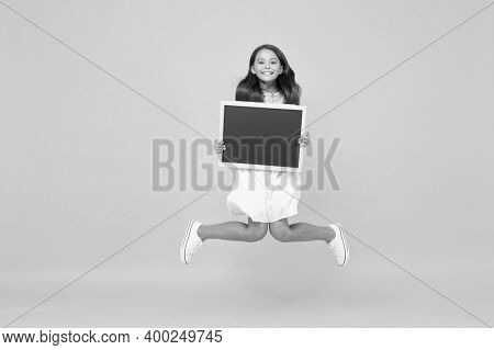 So Excited. Blank Blackboard. Something You Need To Know. Happy Smiling Girl Hold Blackboard. Small