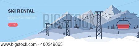 Ski Rental Horizontal Banner. Winter Sport. Ski Resort. Winter Mountain Landscape With Lodge, Ski Li