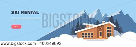 Ski Rental Horizontal Banner. Winter Sport. Winter Mountain Landscape With Big House For Tourists. W