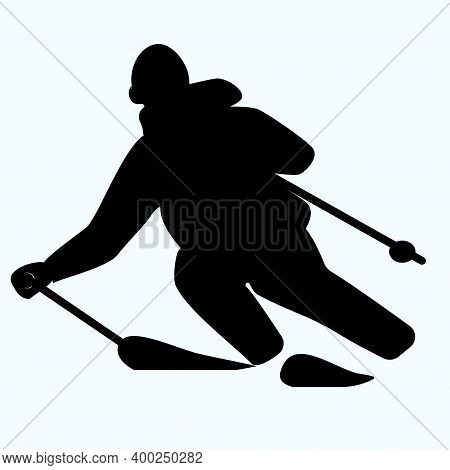 Skier, Downhill - Isolated, Black On White Background - Vector. Winter Sport.