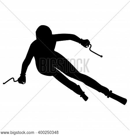 Skier, Freestyle - Isolated, Black On White Background - Vector. Winter Sport.