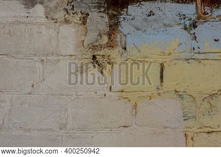 Old Brick Wall With White And Red Bricks. Brick White Wall