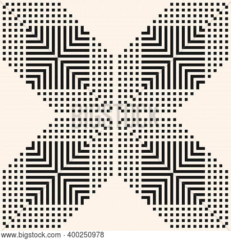 Vector Geometric Seamless Pattern With Squares, Lines, Grid, Repeat Tiles. Simple Modern Black And W