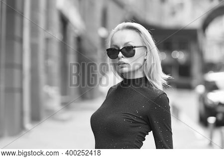Boost Your Style Sense. Sexy Girl Wear Sunglasses Outdoors. Pretty Woman In Summer Style. Stylish Ey
