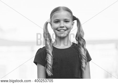 From Childhood To Girlhood. Happy Child Smile Outdoors. Happy Childhood. Enjoying Childhood Years. C