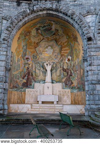 Lourdes, France - October 12, 2020: \\nexternal Saint Pascal Baylon Chapel Of The Basilica Our Lady