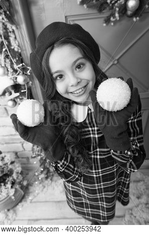Deck The Halls. Christmas Shopping. Small French Girl. Trendy Kid Decorative Xmas Ball. Home And Chr