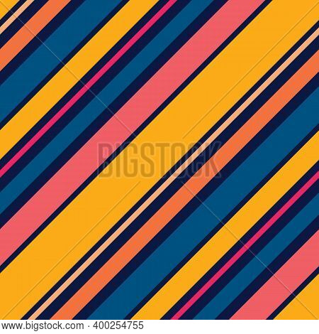Colorful Vector Diagonal Stripes Pattern. Simple Seamless Texture With Thin And Thick Oblique Lines.
