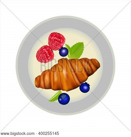 Delicious, Fresh Croissant Decorated With Fresh Berries On A White Background. Croissant On A Gray P