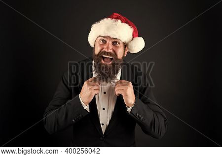 Corporate Christmas Party. Man Bearded Hipster Wear Santa Hat. Christmas Spirit Concept. Manager Cel