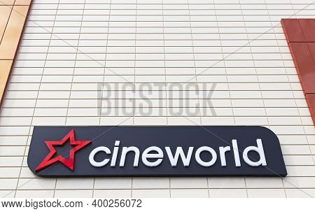 Weston-super-mare, Uk - July 5, 2019: A Sign Showing The Name And Logo Of Cineworld Outside The Comp