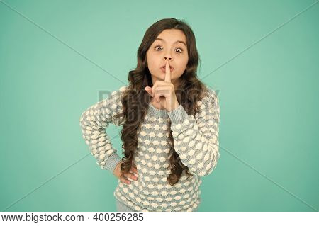 Keep Secret. Little Girl Keep Index Finger By Her Lips. Be Silent. Rumor Legend And Myth. Confidenti