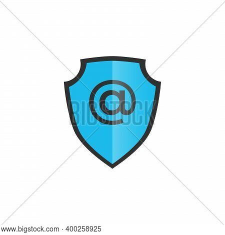 Shield With Mail And E-mail Icon. Guard Sign. Security, Safety, Protection, Privacy Concept. Safe Ma