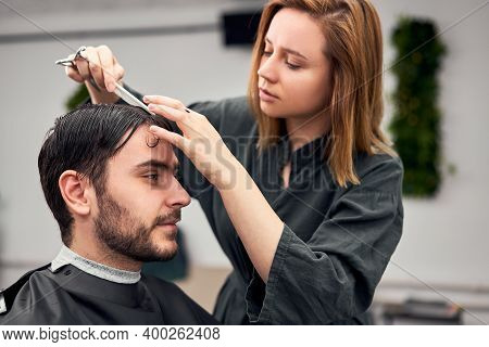 Stylish Man Sitting Barber Shop Hairstylist Hairdresser Woman Cutting His Hair Portrait Handsome Hap