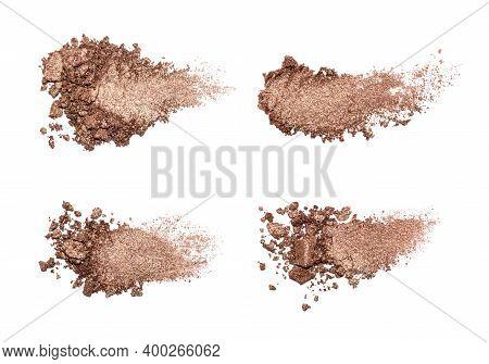 Set Of Eyeshadow Sample Isolated On White Background. Crushed Brown Metallic Eyeshadow. Closeup Of A