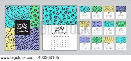 Calendar 2022 Template Vector, Set Desk Calendar 2022, Wall Calendar 2022 Design, Planner 2022, Week