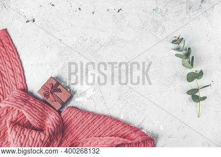 Pink Blanket, Tulip Flowers On White Background. Flat Lay, Top View, Panoramic View, Copy Space, Hol