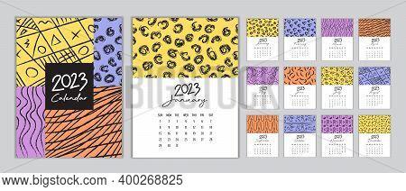 Calendar 2023 Template Vector, Set Desk Calendar 2023, Wall Calendar 2023 Design, Planner 2023 Year,